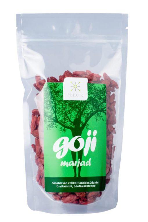 mahedad goji marjad tiibetist, antioksüdandid, mineraalained, vitamiinid, elujõud, väsimuse korral www.elexir.ee